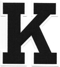 """6"""" inch Tall Black on White Block Letterman's Letter K Felt Patch"""
