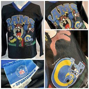 LA Rams Tasmanian Devil Sportonics Shirt L Boys Black Retro 1996 YGI G0-199