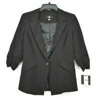 IZ Byer NWT Womens Black Notch Collar 1 Button Formal Business Stretch Blazer S