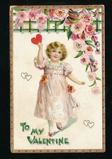 Greetings VALENTINE Child Heart Flowers Tuck  Valentine Series 11 Embossed PPC