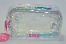 VICTORIA'S SECRET PINK CLEAR IRIDESCENT MAKEUP COSMETIC CASE BEAUTY BAG TRAVEL