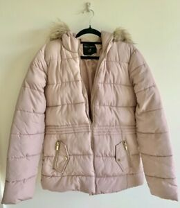Dorothy Perkins Pink Hooded Down/Puffer Jacket Women's Size 8