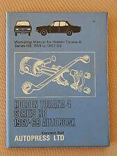 WORKSHOP MANUAL FOR HOLDEN TORANA 4 SERIES HB,1159CC 1967-69 KENNETH BALL