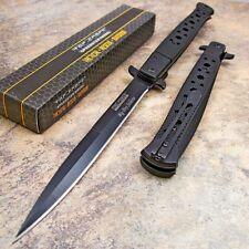 TAC FORCE BLACK Spring Assisted Open EXTRA LARGE Stiletto Folding Pocket Knife!!