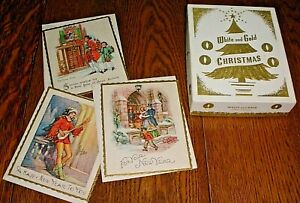 VINTAGE UNUSED 12 WHITE AND GOLD CHRISTMAS GREETING CARDS/ENVELOPES IN BOX