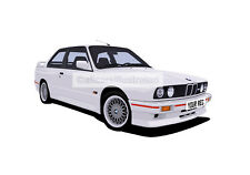 BMW M3 E30 GRAPHIC CAR ART PRINT PICTURE (SIZE A4). PERSONALISE IT!