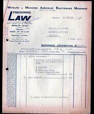 """SENLIS (60) MOTEURS & MACHINES AGRICOLES ELECTRIQUES """"LAW"""" en 1951"""