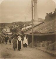 Bosnia Sarajevo Rue Donne Musulmane Turks Foto Stereo Vintage Analogica