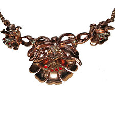 Vintage Coro Rhinestone Gold Tone Lotus Flower  Necklace