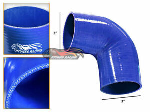 "BLUE 3"" 76mm 4-ply Elbow Silicone Hose Turbo Intake Intercooler For Volkswagen"