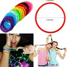 Multicolor Silicone Jelly Bracelets Hair Ties For Girls Women, 100 Pieces (Non L