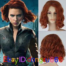 Cosplay Wig The Avengers Natasha Romanoff Black Widow Short Curly Auburn + Cap