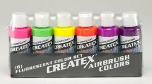 Airbrush Paint - Createx Airbrush Colors - 5802-00 Fluorescent Set - 6 x 2oz