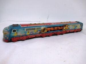 Vintage Animal Train Tin Friction Toy Litho By Skk Made In Japan Collectibles *F
