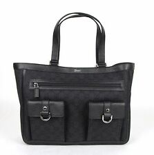 New Gucci Black Denim Abbey Tote Bag Handbag w/D Ring Detail 268639 1160