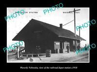OLD POSTCARD SIZE PHOTO OF WAVERLY NEBRASKA THE RAILROAD DEPOT STATION c1910