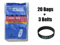 20 Kirby Micron Bags for G3 G4 G5 G6 G7 H2 Ultimate Vacuum + 3 Belts by DVC