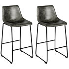 Set of 2 Bar Stool Faux Suede Upholstered Kitchen Dining Chair w/Metal Legs Grey