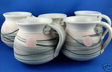 Signed RH ROWE'S HILL POTTERY (Ian Rowe) Unique POTTERY MUGS SET VG - In Aust