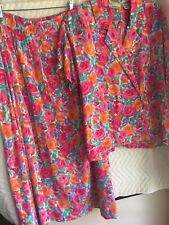 Vintage 2 pc dress sz 14 Point of View floral pattern maxii skirt rayon