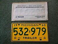 ✈✈✈✈🗽🗽🗽🗽   Michigan  1960  Trailer  License Plate  Airstream