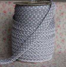3m 12mm Grey Polka Dot Bias Binding with White Picot Lace Edge, Trim