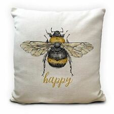 Bumble Bee Cushion Cover Gift | Bee Happy | Heavy Linen Material | 40cm 16inches
