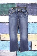 Silver Jeans Buckle Dark Aiko Bootcut Boot Thick Stitch Stretch Jeans 26 X 31