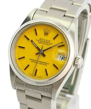 Rolex Datejust 68240 Yellow Index Dial Smooth Bezel 31mm Oyster Watch