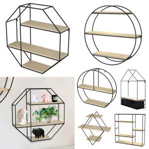 Floating Shelves Metal Wall Shelf Unit Wooden Display Storage Rack uk
