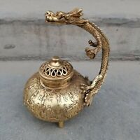 Chinese fengshui Decor Brass carved Dragon loong Beast Statue Incense Burner pot