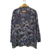 Tianello Peacock Feathers Blouse Womens Large Tencel Rayon Long Sleeve Top Grey