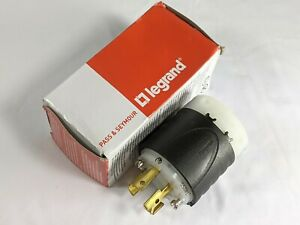 7411SS Locking Plug, Black & White, Non-NEMA, 20-Amp, 125/208-Volt  Damaged Box