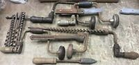 VINTAGE  Hand Brace Drill  Lot Of 4 Plus Extras