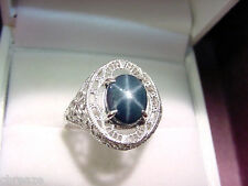 GENUINE BLUE STAR SAPPHIRE 3.01 CTS  925 STERLING SILVER FILIGREE RING