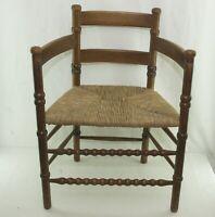 Antik Stuhl Sitz Binsengeflecht Alt Holz Antique Barley Twist Chair