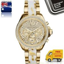 NEW MICHAEL KORS LADIES WATCH WREN GOLD TONE PAVED CRYSTALS WHITE ZEBRA MK6157