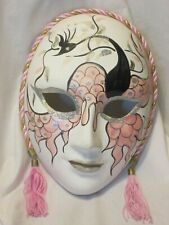 Phoenix Ceramic Face Mask Hand Painted Black Pink Marti Gras Cord Tassel 6 x 8