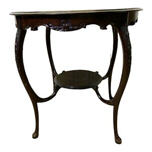 Victorian Style Round Two Tier Mahogany Occasional Table With Carving Details