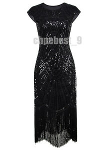 Sequins Flapper Dress Great Gatsby Party Prom Long Evening Gowns Dress Plus Size