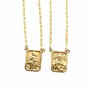 18k Gold Scapular Lady of Carmel with heart of Jesus Double Sided 3.6 gr