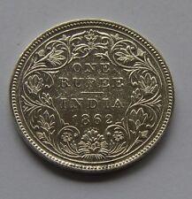 1862 British India Silver 1 Rupee Coin - Victoria Queen - 6 Dots -- Look !!