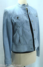 Clothes by Revue Blue Suede Leather Button Tailored Car Coat Jacket Blazer SZ 6