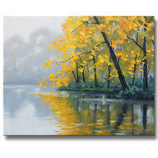 TRADITIONAL OIL PAINTING  GOLD YELLOW AUTUMN RIVER LANDSCAPE by G. Gercken