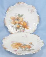 2 A & D Limoges France Dessert Plates Golden Yellow Flowers Porcelain AS IS