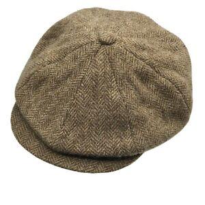 Harrisons Scotland Louis of Boston Wool Herringbone Newsboy Flat Cap Tweed 7 1/4