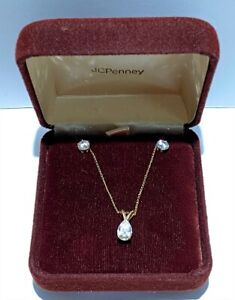 Vintage 14kt Gold CZ Pendant Necklace and Earrings Set.