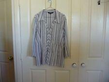 Cotton Blend Striped Plus Size Blouses for Women