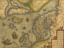 ART PRINT POSTER MAP OLD VINTAGE NORTH ATLANTIC SCANDINAVIA ICELAND UK LFMP0857