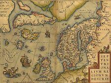 ART PRINT POSTER MAP OLD VINTAGE NORTH ATLANTIC SCANDINAVIA ICELAND UK LFMP0857
